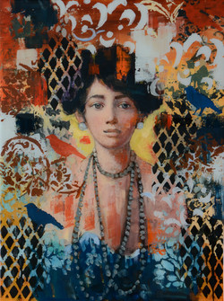 Ms Canaries (24x18) mixed media (24x18)