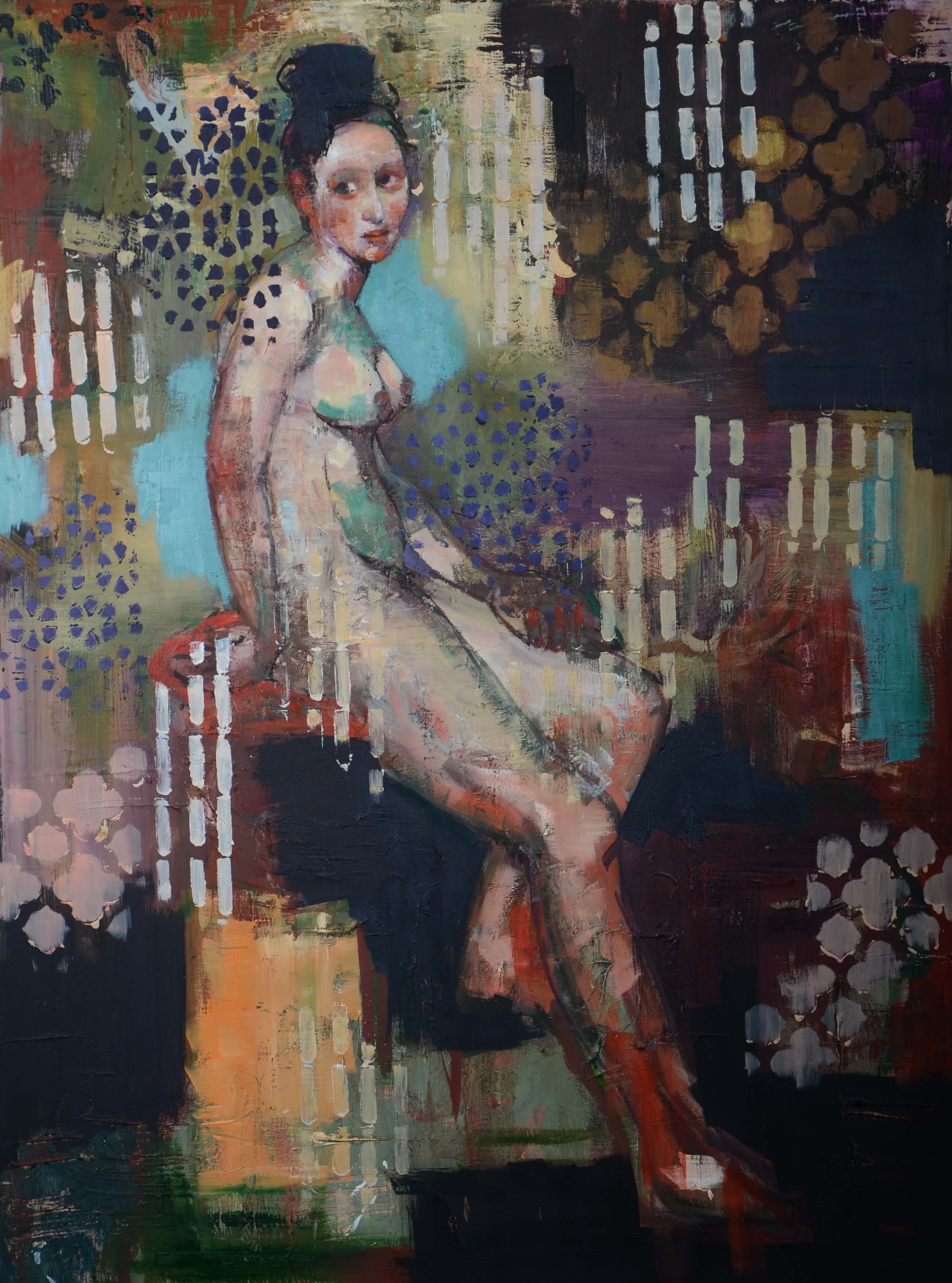Colored Nude (40x30) oil on canvas 2020.