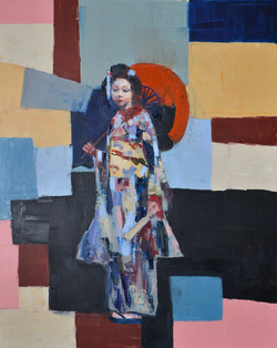 Geisha in the Colorful Town (60x48) oil on canvas 2017