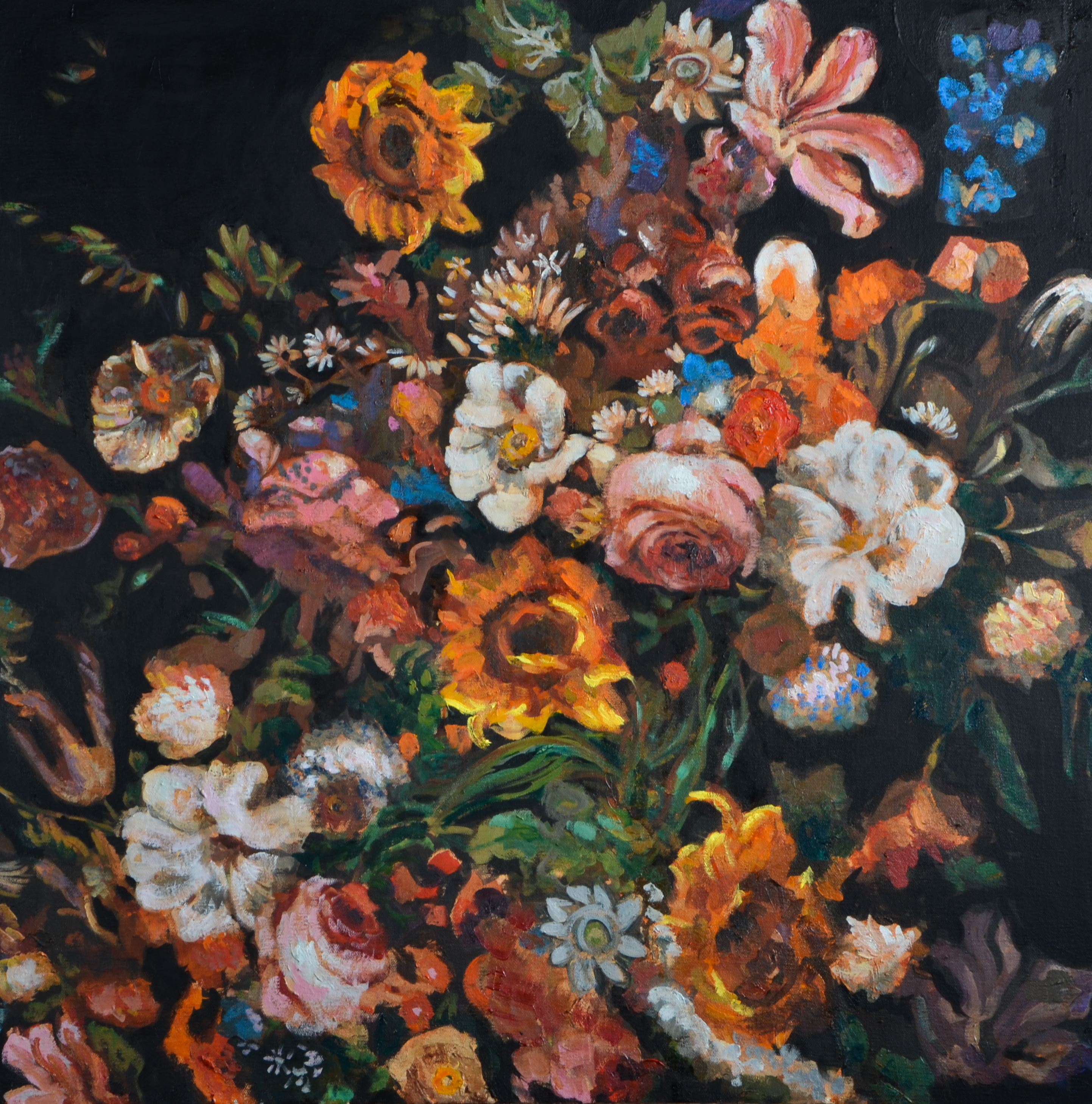 Flowers Wonder (30x30) oil on canvas 201