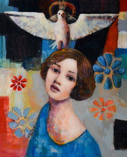 Sister's Prayer (20x16) mixed media resin on wood plate 2018