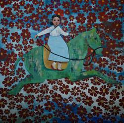 Sky Jump (48x48) oil on canvas 2021