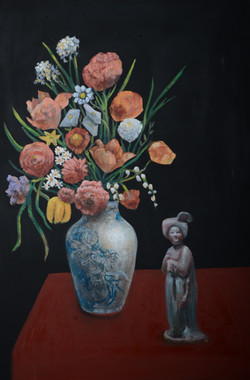Mixed Flower with A Clay Lady (36x24) oi