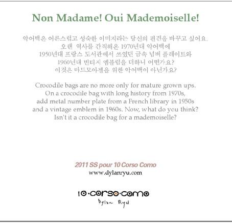 """""""Non Madame, Oui Mademoiselle"""" For 10 corso como"""