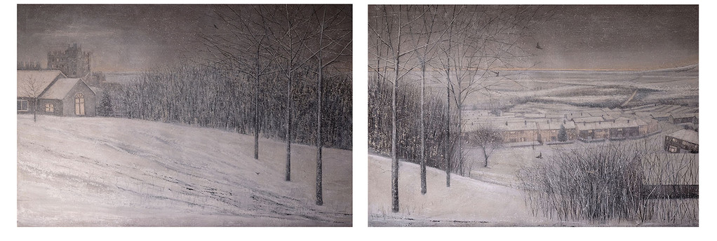 Blackbirds Foraging in Winter diptych by Thomas Lamb