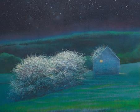 Hawthorn and Shepherds Hut at Night by Thomas Lamb