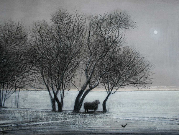Blackbird and Ram in Winter by Thomas Lamb