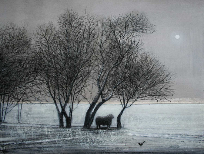 Blackbird and Ram in Winter by Thomas Lamb