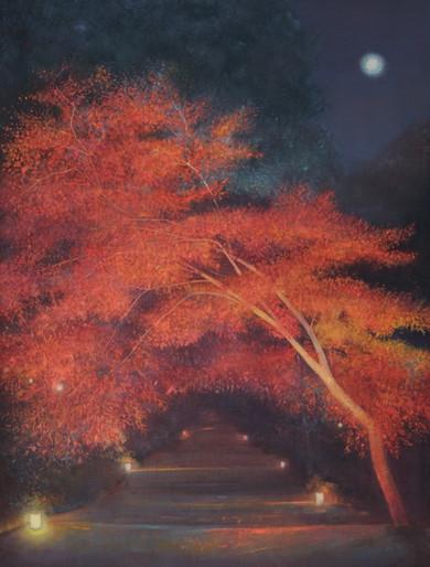 Autumn Tree under Moon by Thomas Lamb