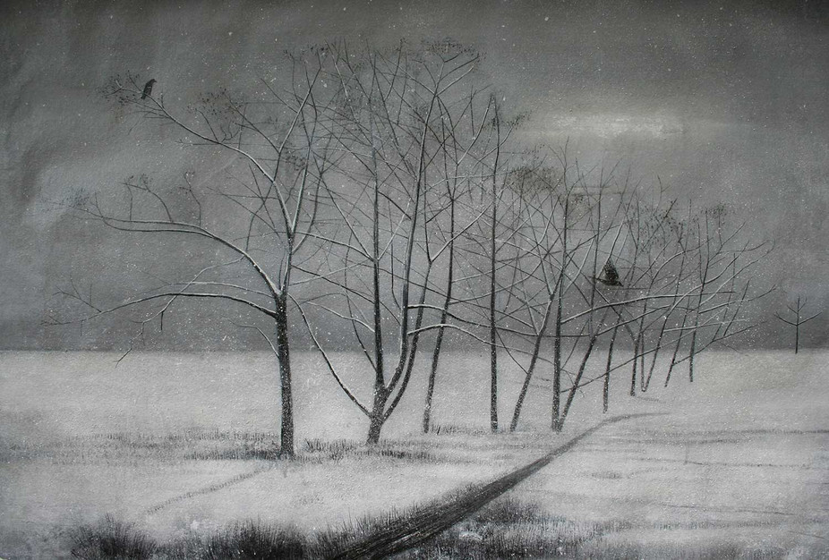 Crows and Snow Covered Trees in Winter by Thomas Lamb