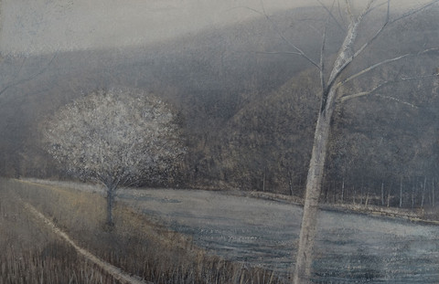 Trees beside River study by Thomas Lamb