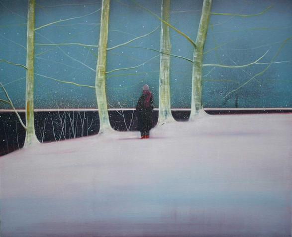 Yuki beside the Lake in Winter by Thomas Lamb