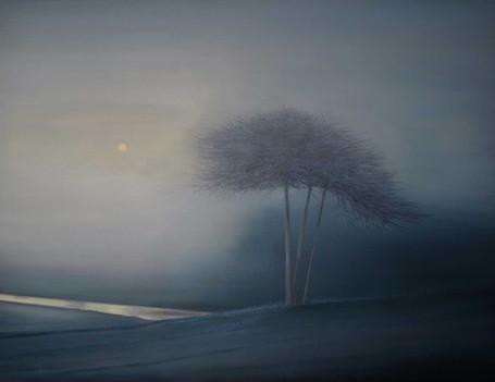 Trees above River at Dawn by Thomas Lamb