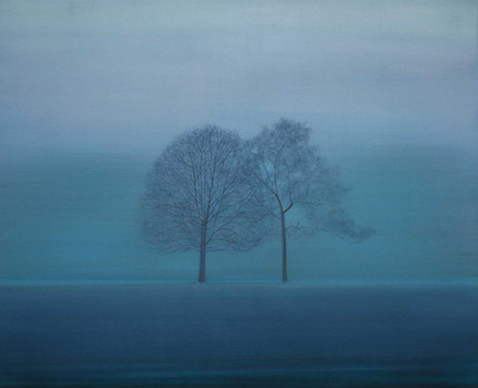 Two Trees in the Mist at Dusk by Thomas Lamb