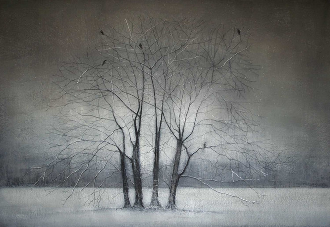 Winter Trees with Crows by Thomas Lamb