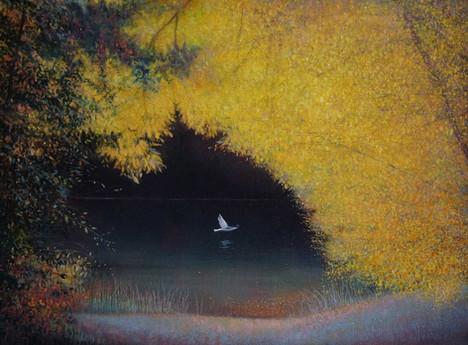 Bird over River Autumn by Thomas Lamb