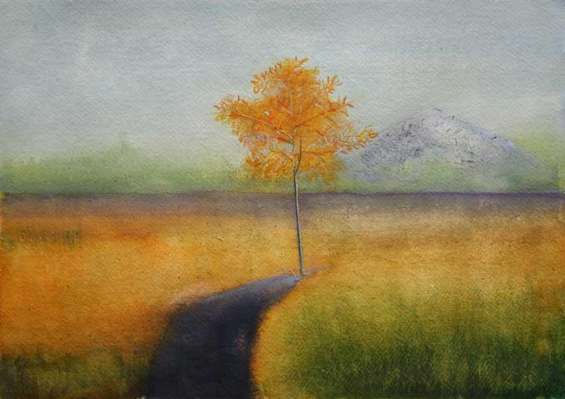 Yellow Tree and Volcano by Thomas Lamb