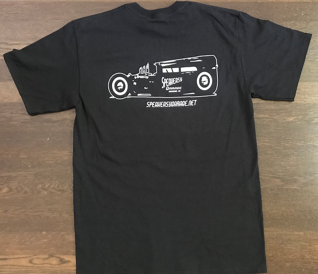 SPEAKEASY GARAGE SHOP CAR T-SHIRT