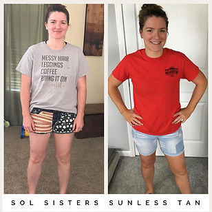 Sunless tan before and after