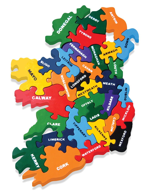 wooden jigsaw map of Ireland