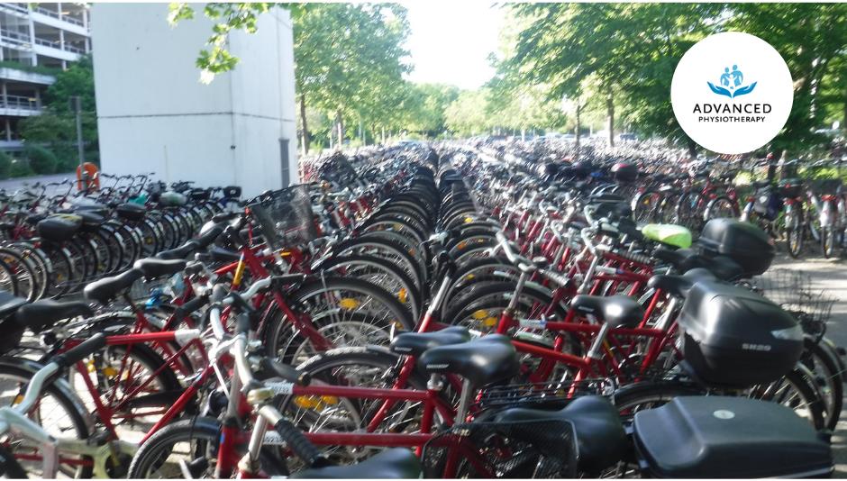 crowded bike rack in celebration of Go By Bike Week BC