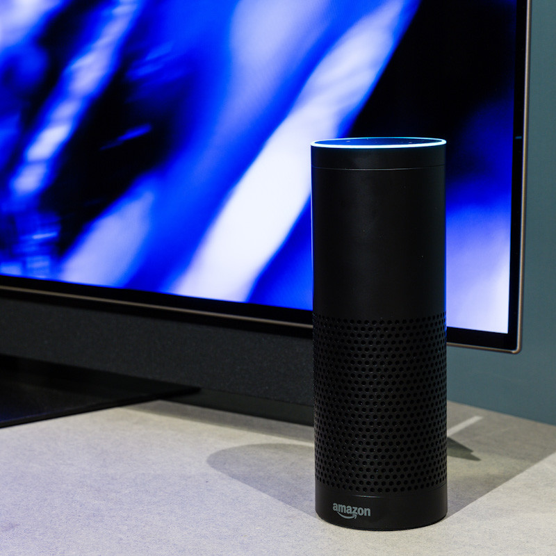 Picture of Amazon Alexa speaker and flatscreen TV