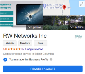 Google My Business Listing for RW Networks Inc.