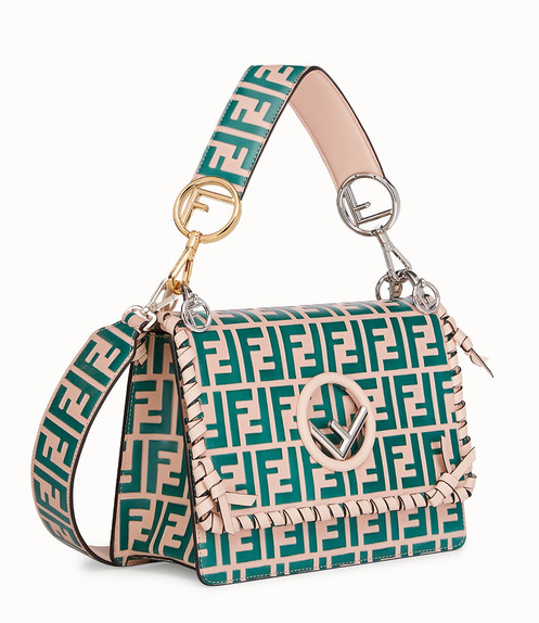 a9951e23706 FENDI KAN I FF LOGO PLAQUE GREEN AND BEIGE LEATHER SHOULDER BAG  8BT284A30XF12FW