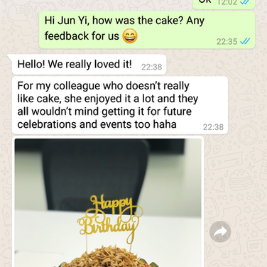 "Jun Yi ""My colleague who doesn't really like cake, enjoyed it a lot"""