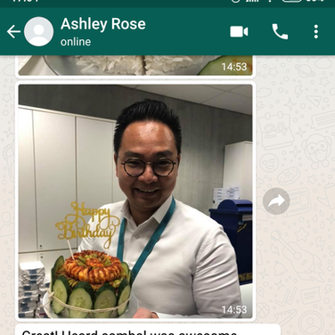 "Ashely Rose ""Sambal was awesome"""