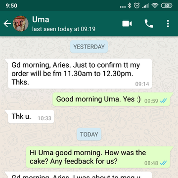 """Uma """"The cake was very delicious. Thank you for coming up with this great idea"""""""