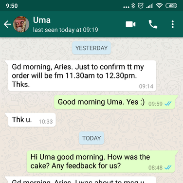 "Uma ""The cake was very delicious. Thank you for coming up with this great idea"""