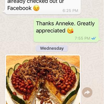 "Anneke ""Great feedback. Friends said is tasty"""