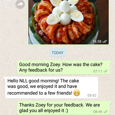 "Zoey Lai ""The cake was good. We recommended to few frieds"""