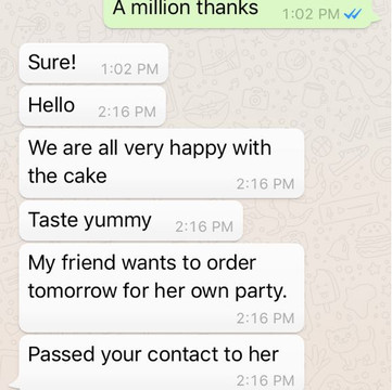 "Charmaine ""Happy with the cake. Taste yummy"""
