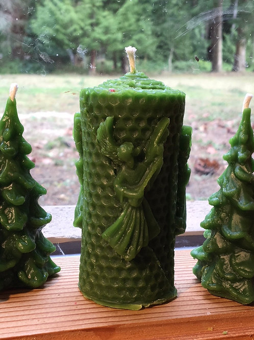 Forest Green Angel Trio Beeswax Candle