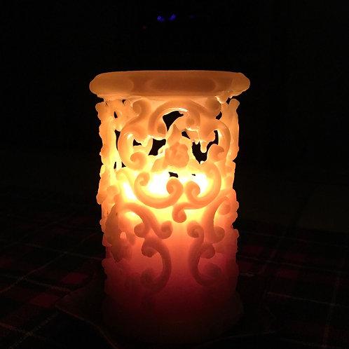 Medium Baroque Filigree Pillar Beeswax Candle