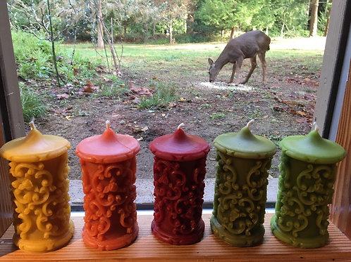 Bordeaux Baroque Filigree Pillar Beeswax Candle- medium