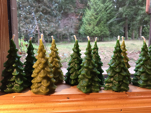 Forest Green Trio of Trees Beeswax Candles