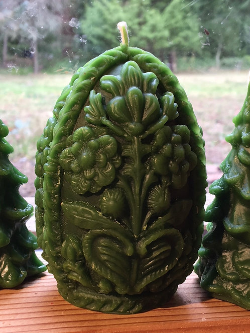 Forest Green Beeswax Egg Candle