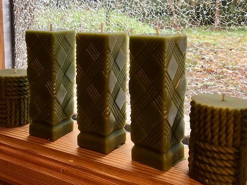 Moss Argyle Pillar Beeswax Candle