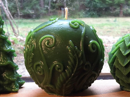 Forest Green Enchanted Fairy Orb Beeswax Candle