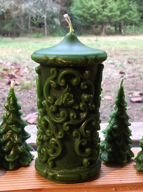 Forest Green Grand Filigree Pillar Beeswax Candle