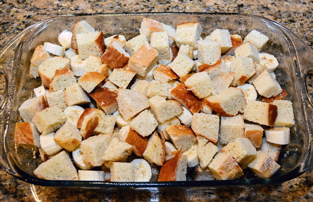 Sliced Bananas and Bread for Bananas Foster Bread Pudding