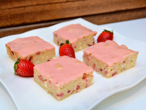 Strawberry White Chocolate Blondies with Strawberry Glaze