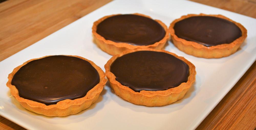 Dark Chocolate Salted Caramel Mini Tarts with Shortbread Crust