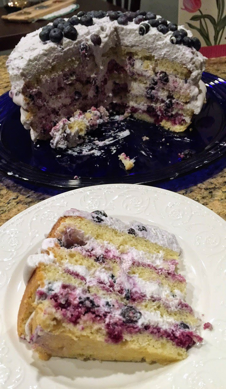 Moist Blueberry Lemon Cake with White Chocolate Frosting