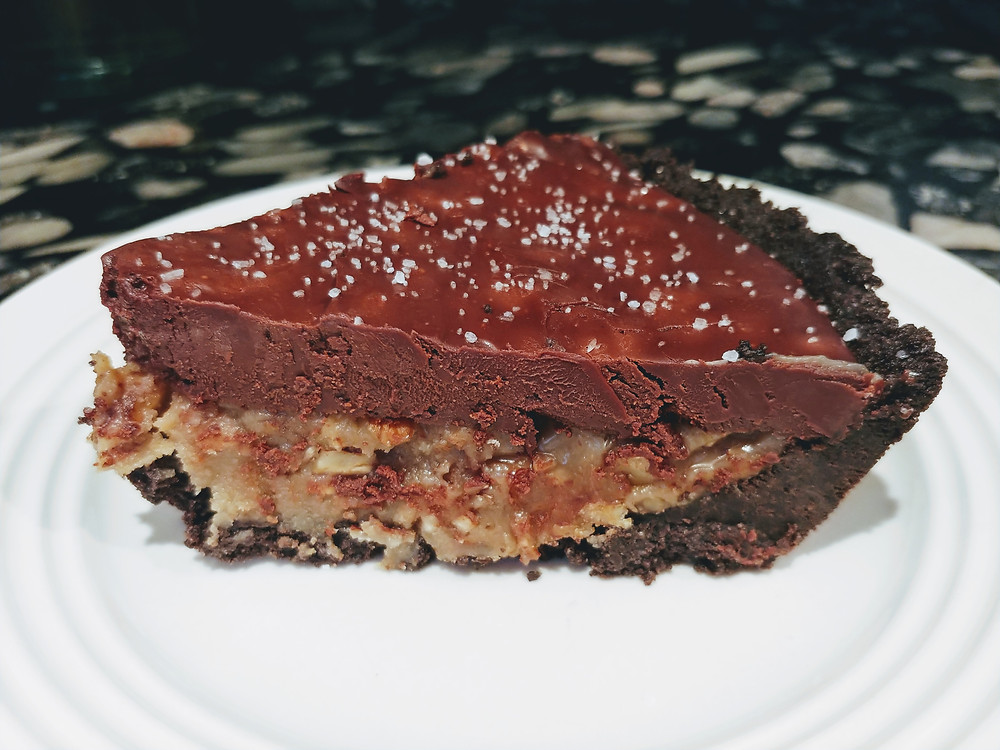 Dark Chocolate Salted Caramel Pecan Pie with Oreo Crust