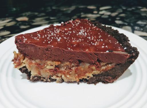 Dark Chocolate Salted Caramel Pecan Pie with Oreo Crust