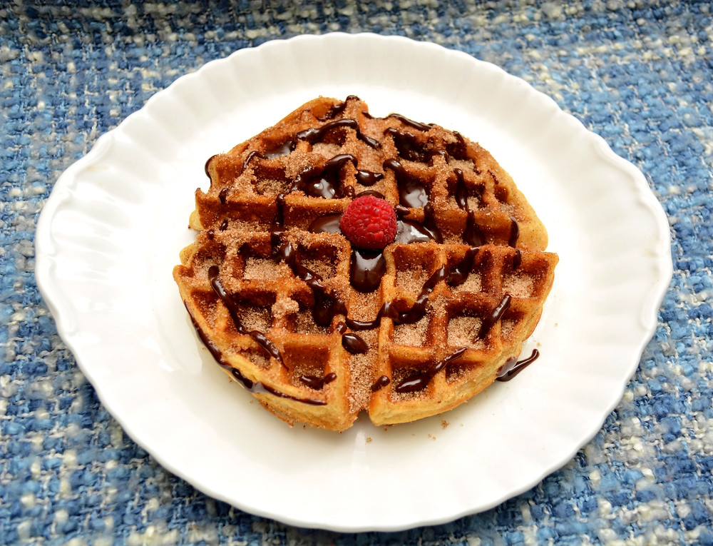 Churro Belgian Waffles with Sweet and Spicy Mexican Chocolate Sauce